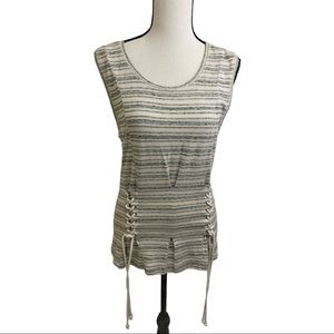 William Rast stripe sleeveless lace up front top S